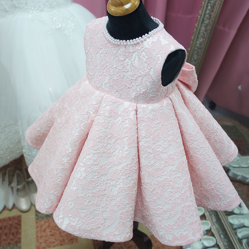 Cute Baby Girl Dress Beaded Baptism Dresses for Girls 1 Year Birthday Party Dress Christening Gown
