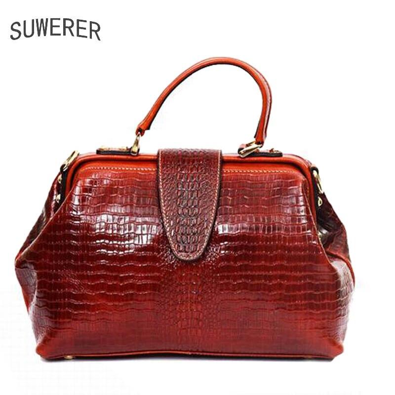 black Brown red Luxe Main Véritable De À Sacs En Gaufrage Femmes Designer Cuir Crocodile wnSOPq7