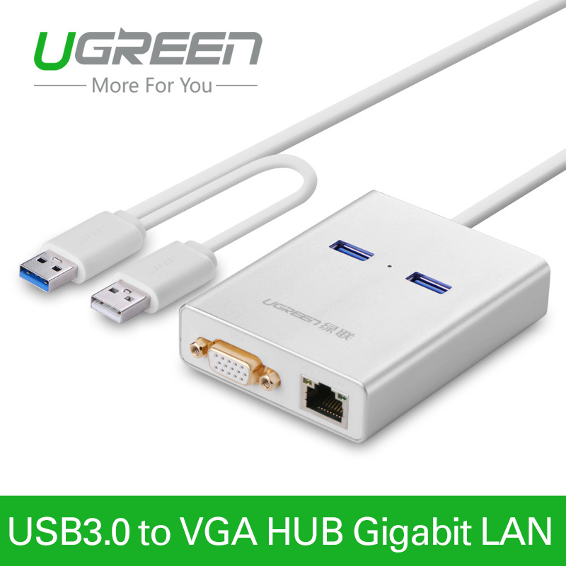UgreenUSB 3.0 к VGA видео Графический Дисплей карта внешнего кабеля адаптера 1000 гигабитный Ethernet 2 порта концентратора для Windows 7/8/10