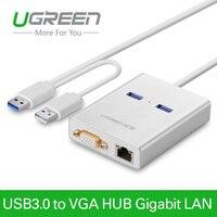 Ugreenusb 3.0 إلى كابل محول عرض vga فيديو بطاقة الرسومات الخارجية 1000 جيجابت إيثرنت 2 منافذ hub ويندوز 7/8/10
