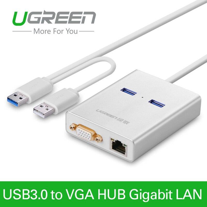 Ugreenusb 3.0 do wyświetlania wideo karta graficzna vga cable adapter zewnętrznego 1000 gigabit ethernet 2 porty hub dla windows 7/8/10