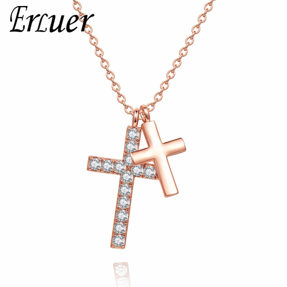 ERLUER necklaces for women Fashion cross Pendant adjustable crystal jewelry Girl zircon rose gold charm necklace jewellery Gift