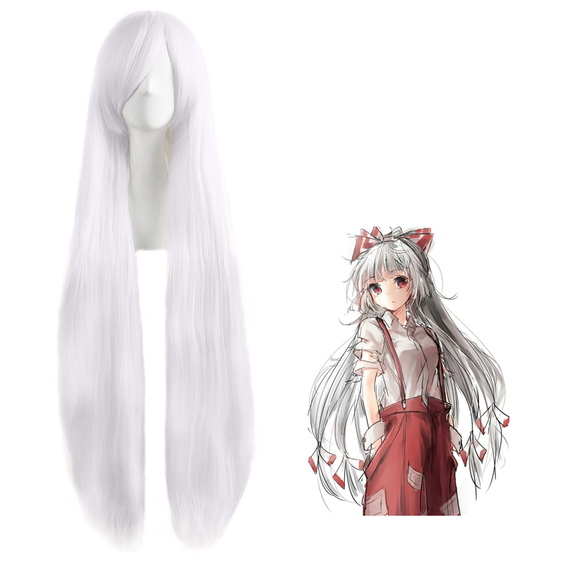 Tou Hou Project Fujiwarano Mokou Straight 100cm White Anime Costume Cosplay Wig Long Halloween Costumes Women Heat Resistant Wig