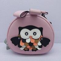 Kadın Omuz Çantası 3D Baykuş Dikiş Desen Hakiki Deri Küçük Yuvarlak Paket Protable Alışveriş Çantaları
