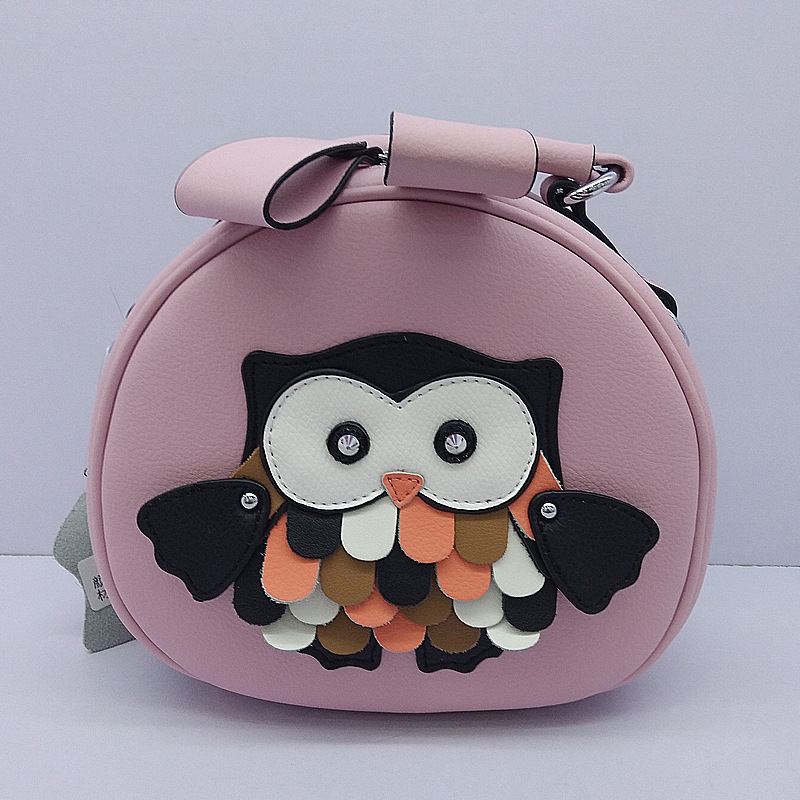 купить Women Shoulder Bag 3D Owl Stitching Pattern Genuine Leather Small Round Package Protable Shopping Bags по цене 2641.7 рублей