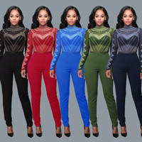 European fashion new rompers women jumpsuit full length bodycon jumpsuit multi color night club playsuit 6016
