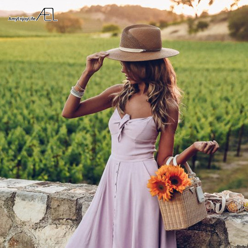 AEL 2019 nouvelles femmes robe Midi sans manches Bowknot bretelles réglables Slim longue robe Sexy robe Slip