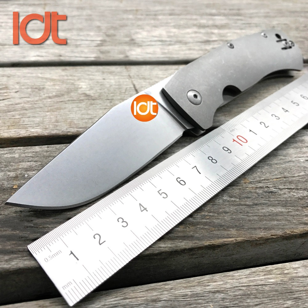 LDT C186 BOWIE Folding Blade Knife Stone Wash D2 Blade Titanium Handle Hunting Tactical Knives Camping Outdoor Knife EDC Tools ldt rat model 1 folding blade knives carbon fiber handle aus 8 blade tactical knife camping outdoor hunting pocket tools edc