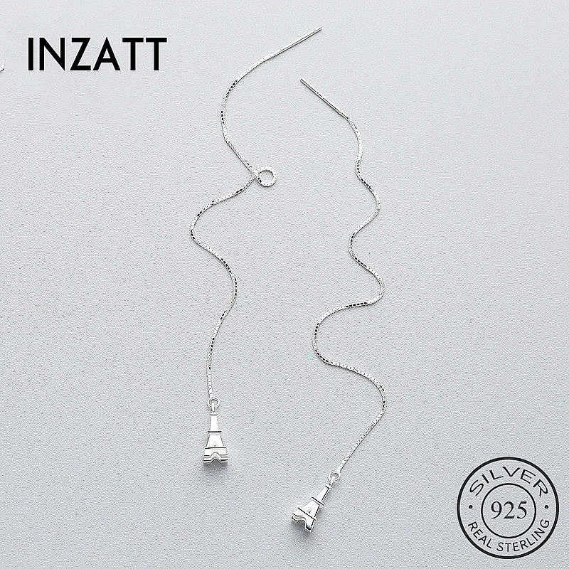 INZATT Romantic Tower Personality Dangle Drop Earrings 925 Sterling Silver Fine Jewelry Long Chain Tassel For Women Wedding