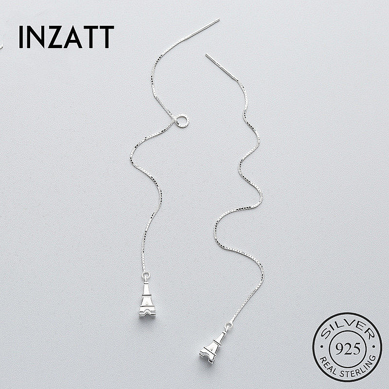 INZATT Romantic Tower Dangle Drop Earrings 925 Sterling Silver Fine Jewelry Long Chain Tassel For Women Wedding