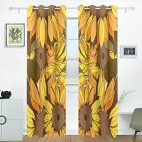 Sunflower Curtains Drapes Panels Darkening Blackout Grommet Room Divider For Patio Window Sliding Glass Door 55x84