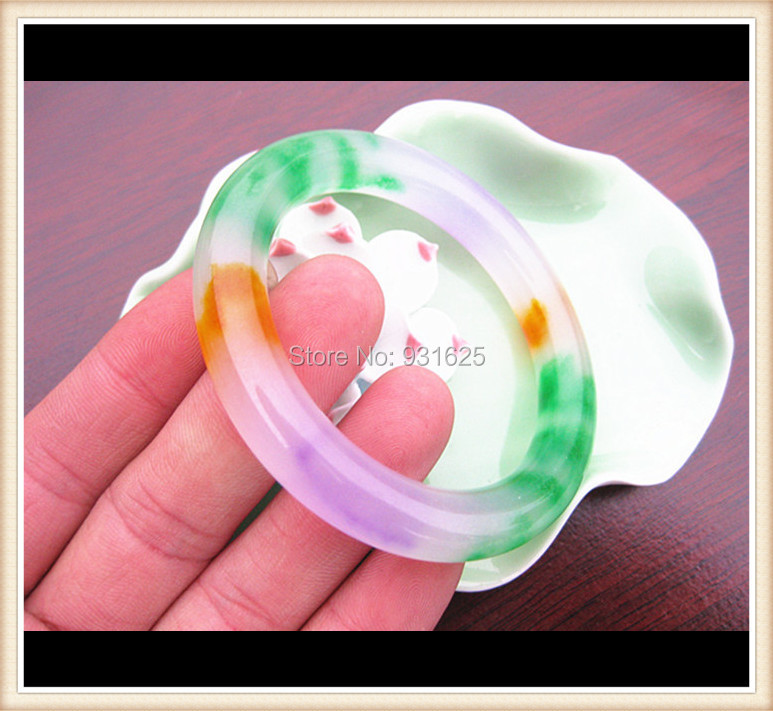 Wonderful Multicolor Purple Green Natural Real Lucky Bracelet Round Bangle Fashion Jewelry Bangles 58 60mm