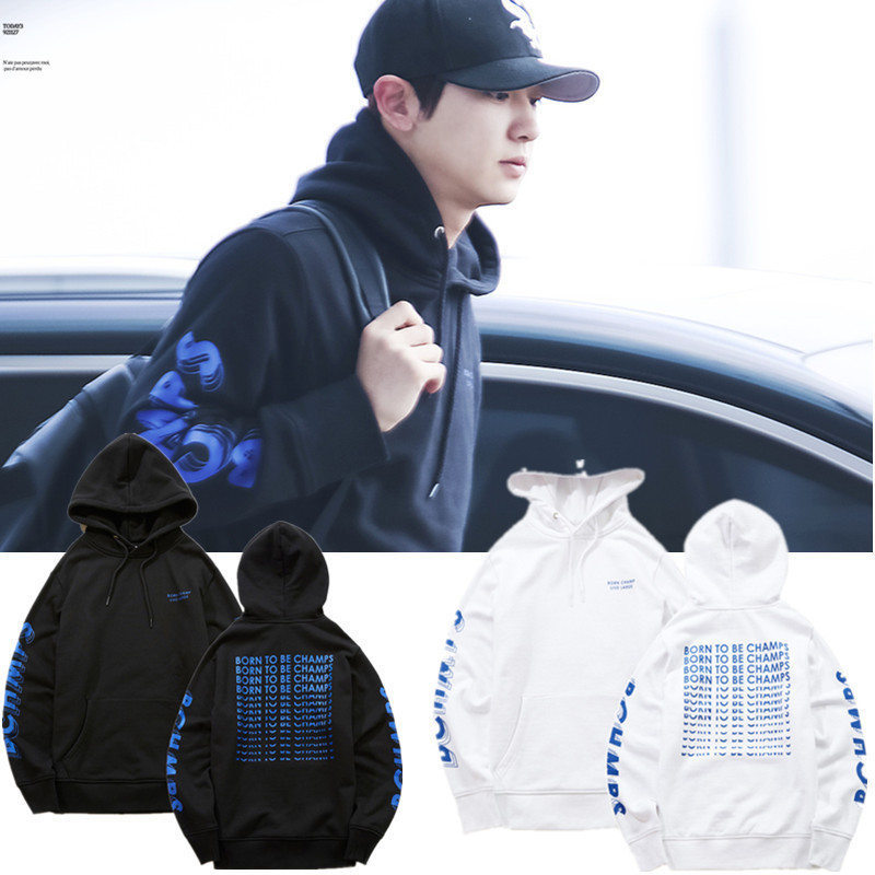 2018 new EXO CHAN YEOL Street shot with the same paragraph hooded loose men and women ho ...