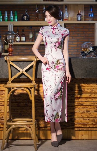 Shanghai Story high-grade faux silk cheongsam china qipao Pink floral long qipao mandarin collar Chinese sheath dress