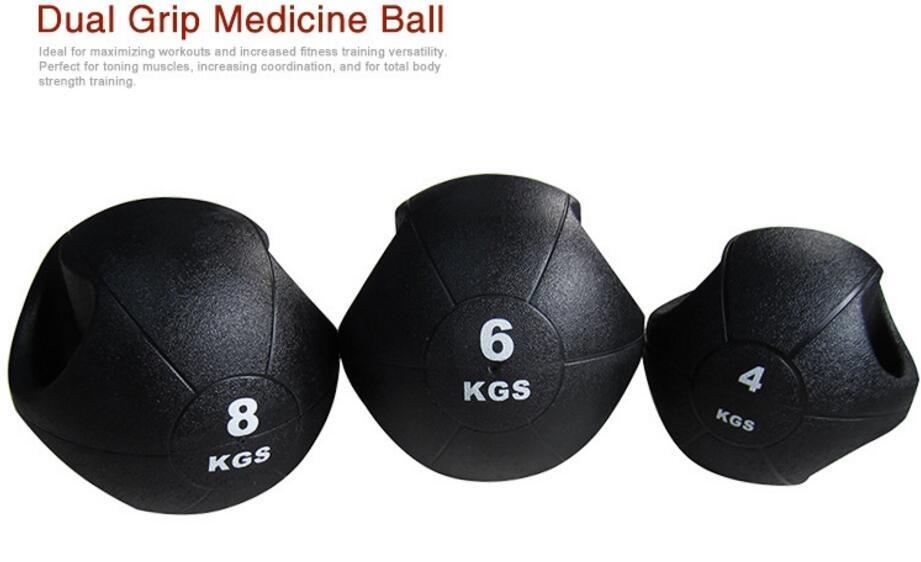 Dual grip Medicine Ball Rubber Fitness Ball Imbalance Training Solid Gravity Ball 3kg 4kg 5kg waist abdomen rehabilitation fitness ball imbalance training solid gravity ball natural rubber medicine ball
