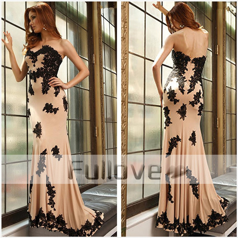 Graceful Black Appliques Mermaid Evening Dresses Long 2019 Sweetheart Champagne Chiffon Formal Dress Vesrido De Festa Longue
