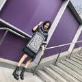 Street fashion geometry plaid pattern print quoined plus size round PU gauze patchwork short-sleeve o-neck one-piece dress