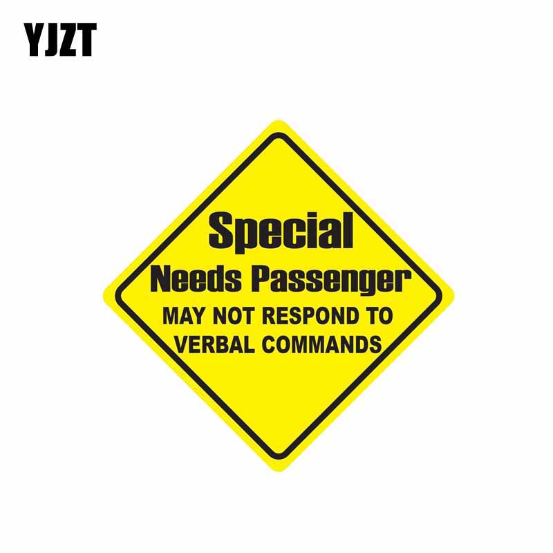YJZT 15.2CM*15.2CM Special Needs Passenger MAY NOT RESPOND TO Car Sticker PVC Decal 12-0805