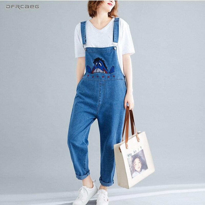 Women s Eeyore Cartoon Embroidery Denim Pants Jumpsuits 2019 Spring Loose Suspender Romper Jeans Overalls Ladies