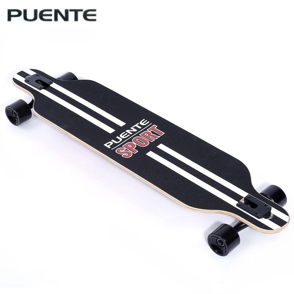PUENTE Elegante Longo Skate Quatro-Rolo roda Scooter De Viagem Ferramentas de Skate Longboard 6 Cores