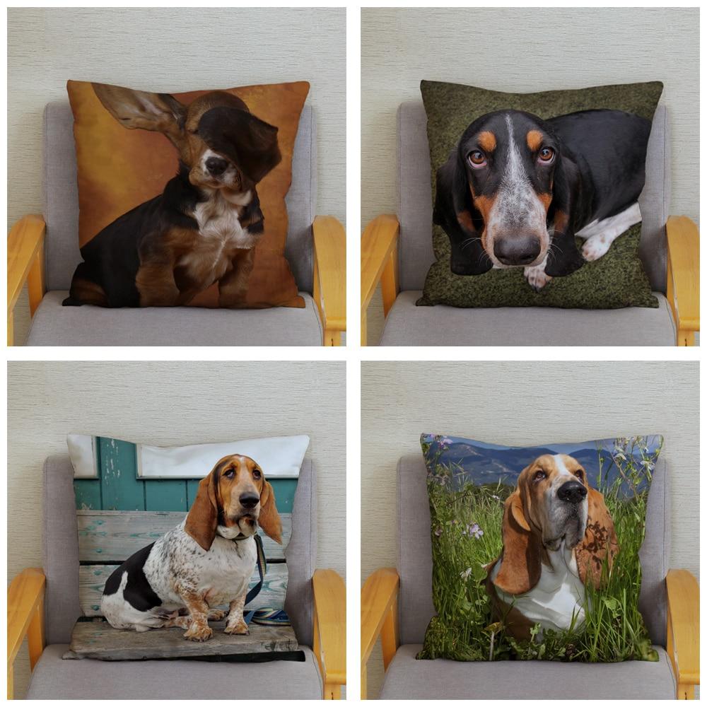 Cute French Basset Hound Dog Throw Pillow Cover 45*45cm Cushion Covers Plush Pillow Case Car Sofa Decor Pet Animal Pillows Case