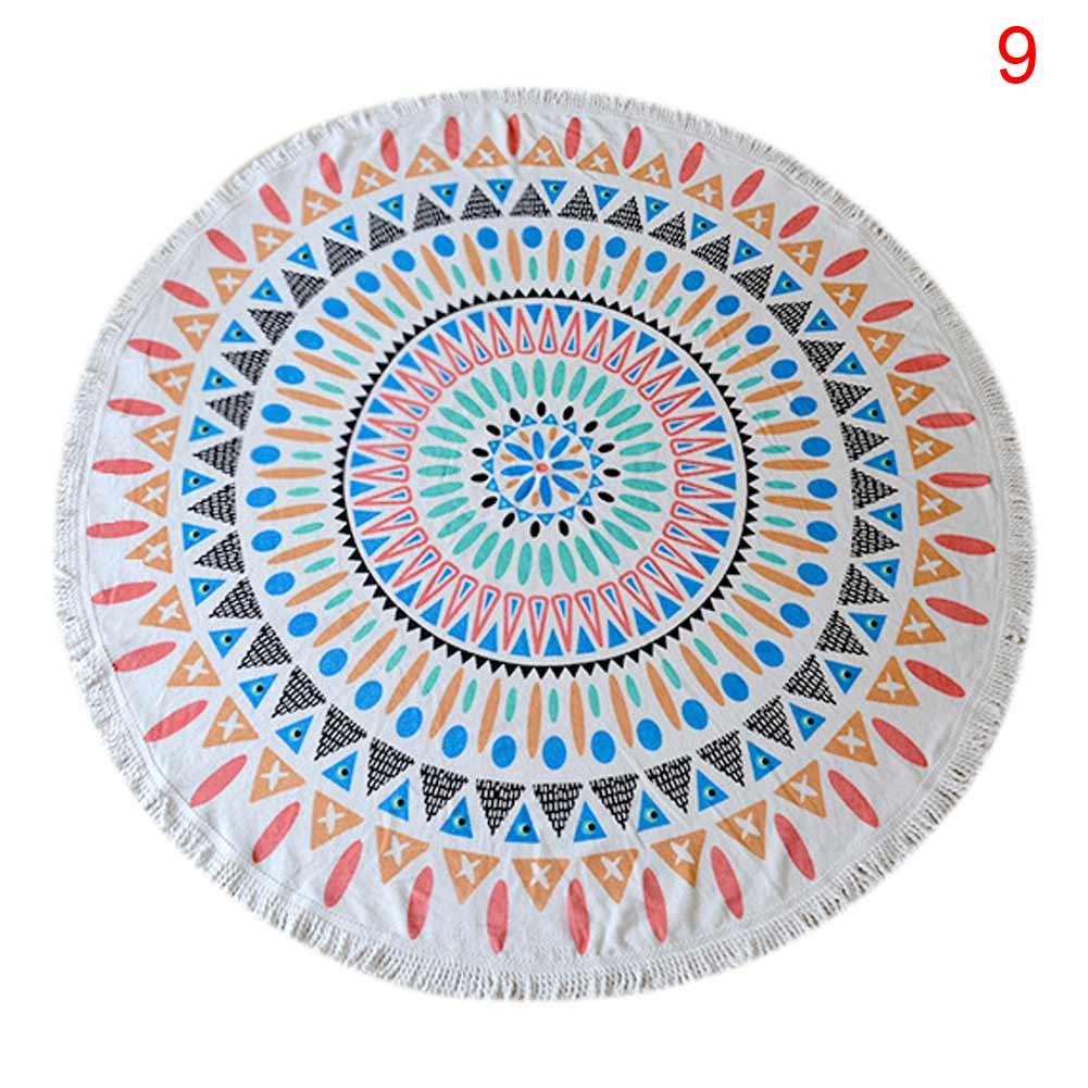 Yoga Towel Function: Fashion Yoga Mat Round Floral Print Beach Wrap Tassel