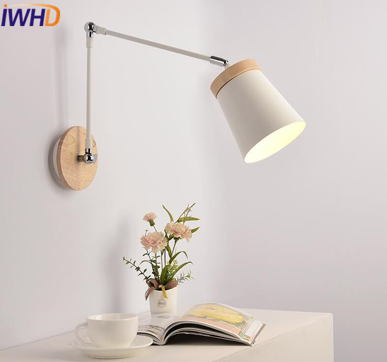 IWHD Iron Modern Led Wall Lamp Wood Adjustable Long Arm Sconce Wall Lights For Home Lighting Fixtures Bedroom Lamparas de Pared bedside wooden wall lamp wood glass aisle wall lights lighting for living room modern wall sconce lights aplique de la pared