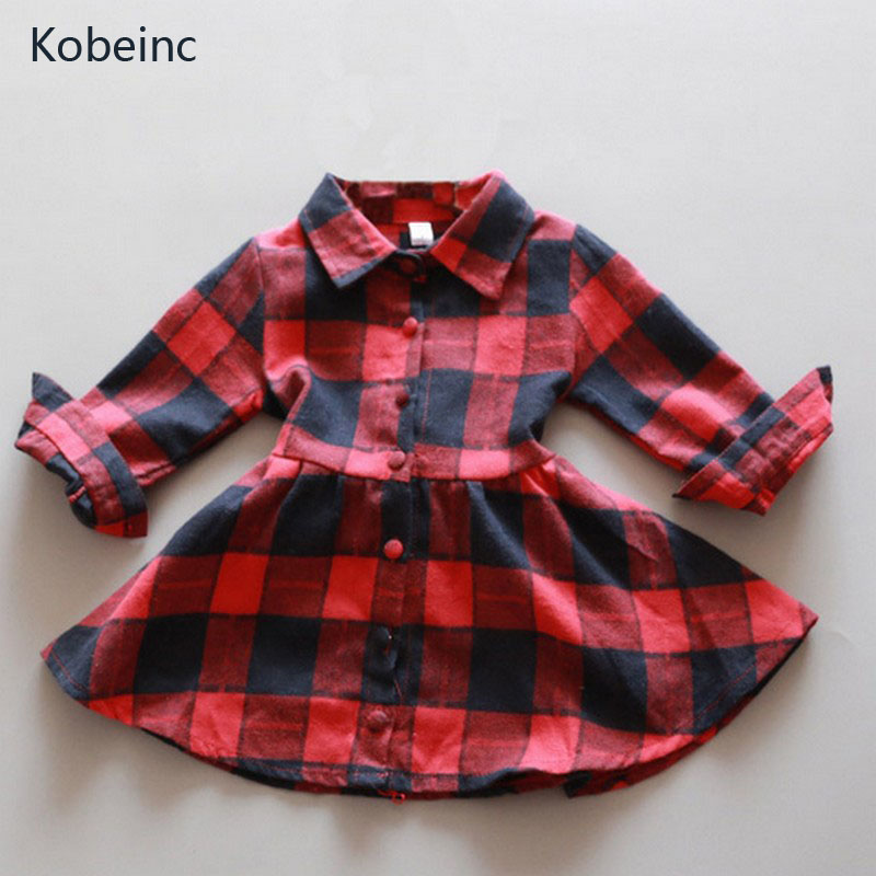 Kobeinc Plaid Dress For Girls Long Sleeve Casual Kids Clothes Toddler Clothing Slim Cotton Children Dresses 2017 New Autumn toddlers girls dots deer pleated cotton dress long sleeve dresses