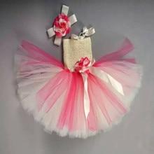BBWOWLIN Baby girl dress headwear Handmade Princess First Birthday Wedding Flowers Tutu Dresses with Flowers Headdress