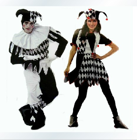 Free shipping ADULT HARLEQUIN JESTER CLOWN CIRCUS COSTUME + HAT HALLOWEEN MEDIEVAL FANCY DRESS