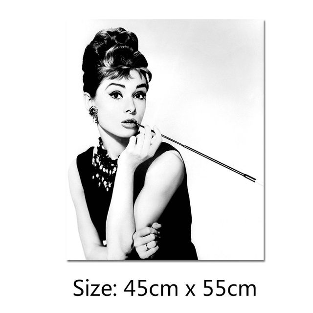 Black and white beauty stars audrey hepburn decoration wall art pictures canvas paintings posters for living room unframed