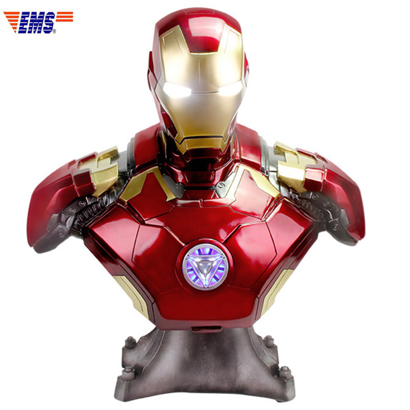 Avengers:Infinity War Superhero Iron Man MK42 1/1 Bust With LED Light Statue Action Figure Model Toy X611Avengers:Infinity War Superhero Iron Man MK42 1/1 Bust With LED Light Statue Action Figure Model Toy X611
