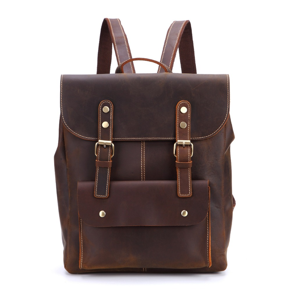 Men's Bags Luggage & Bags Vintage Crazy Horse Leather Backpack Men Genuine Leather 14 Laptop Backpack Brown Cow Leather School Rucksack Bag #q1731 Save 50-70%