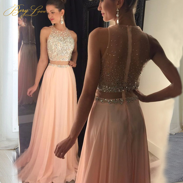 4386ae797711 Fashion Blush Pink Prom Dress 2019 Crystal Beaded Top Tulle Elegant Long Prom  Gown Show Waist Sweep Train Plus Size Cheap Dress