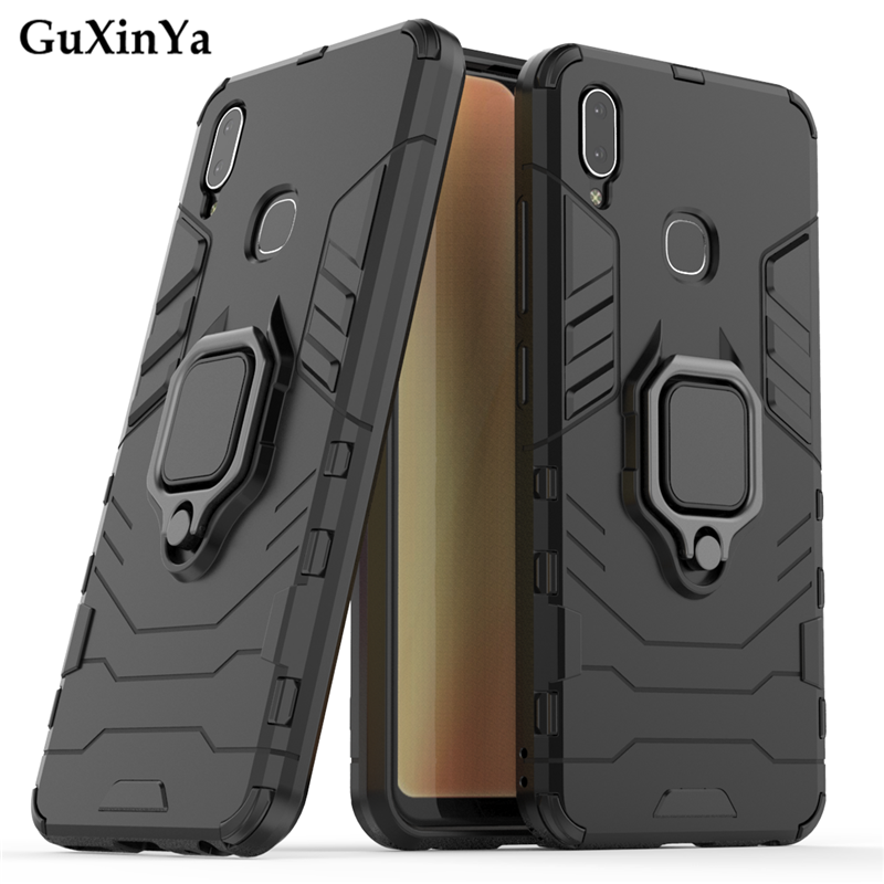 Guxinya Kickstand Phone Cases For Vivo Y91 Case Luxury Armor Magnetic Ring Cover For Vivo Y95 Fundas 6.22