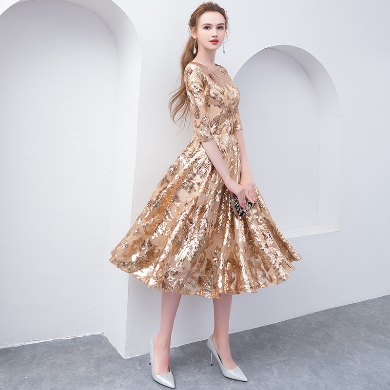 Gold Elegant Sexy Chinese Embroidery Female Cheongsam Dress Vestidos Chinos Oriental Wedding Gowns Party Dresses Size XS-XXL
