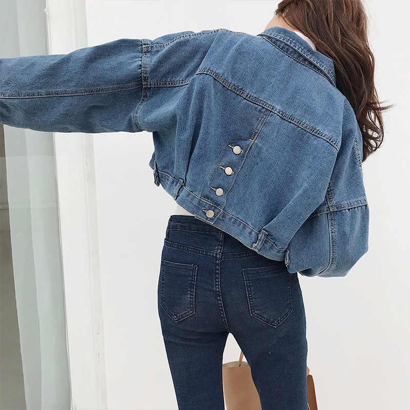 780a2c86f Chic Short Denim Jacket Single Breasted Front Pockets Women Lapel Jean  Jackets Women 2019 Casual Long Sleeve Street Crop Jackets