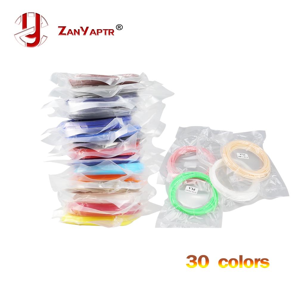 Materiais de impressão com filamento pla 1.75mm, materiais de impressão de filamento em plástico para extrusora de impressora 3d, acessórios de caneta preto e branco, vermelho, arco-íris colorido de 10 metros