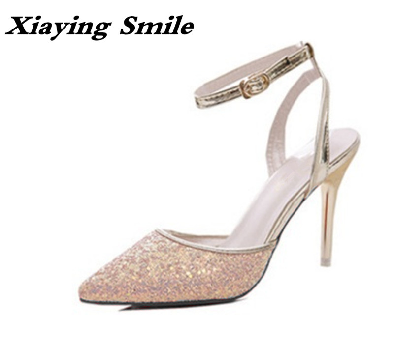 Xiaying Smile Woman Sandals Women Pumps Summer Thin Heel Closed Toe Buckle Strap Fashion Casual Sequined Cloth Sexy Women Shoes xiaying smile summer woman sandals square cover heel woman pumps buckle strap fashion casual flower flock student women shoes