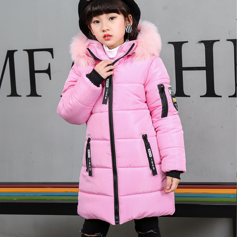 Baby Girl Hoodies Long Coats and Jackets With Fur Hood Outerwear Winter 2017 Kids Thicken Cotton-padded Warm Coat For Big girls