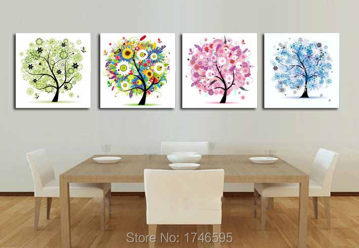 Big Size 4pcs Modern Living Room Decor Home Decor Four Seasons Trees Wall Art Picture Printed Oil Painting On Canvas Art Prints
