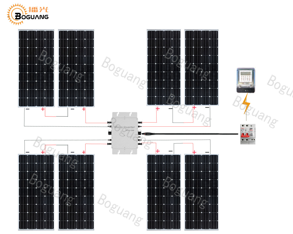 BOGUANG 1200w Household and network systems 8*150w PV solar panel cell system module kit inverter+controller Solar Photovoltaic boguang 500w semi flexible solar panel solar system efficient cell diy kit module 50a mppt controller adapter mc4 connector