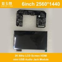 6 inch AUO IPS 2560*1440 2K 60hz LCD Screen HDMI mini USB Audio Jack Module For DIY VR Oculus Rift DK1 DK2 Virtual Reality 1440P