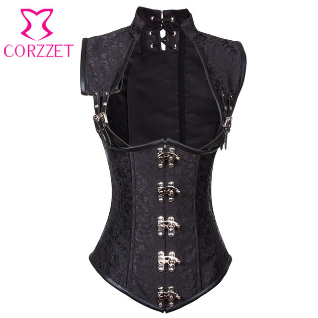 db60f5981b Corzzet Black Leather Armor Steampunk Collared Waist Trainer Corset Vest  Steel Boned Plus Size Sexy Gothic Corsets And Bustiers