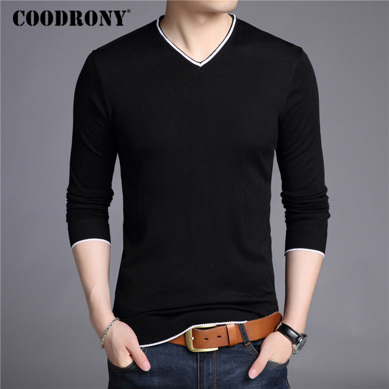 COODRONY Wool Pullover Sweater Men Shirt V-Neck Knitted Long-Sleeve Autumn Winter Casual