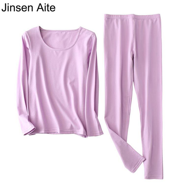 Jinsen Aite XL-6XL Plus Size Cotton Long Johns for Women Large Size 2018 New Autumn Winter Female Thermal Underwear Sets JS675