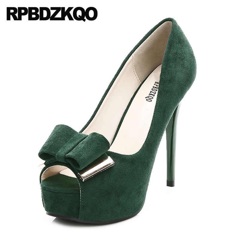 2809490a95b3 Catwalk Thin Fetish Black Extreme Green Platform Shoes Super Pumps 12cm 5  Inch Bow Ultra Ladies