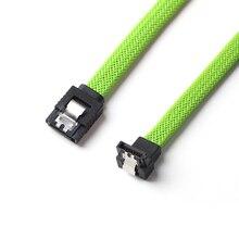 Cabo de 50cm sata 3.0 iii sata3, 7pin, ângulo reto 6 gb/s ssd hdd, dados de disco rígido cabos com cor verde nylon manga