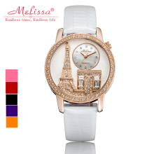 Melissa Lady Wrist Watch Quartz Hours Women's Fashion Bracelet Leather Luxury Rhinestones Birthday gift Eiffel Tower Triumphal