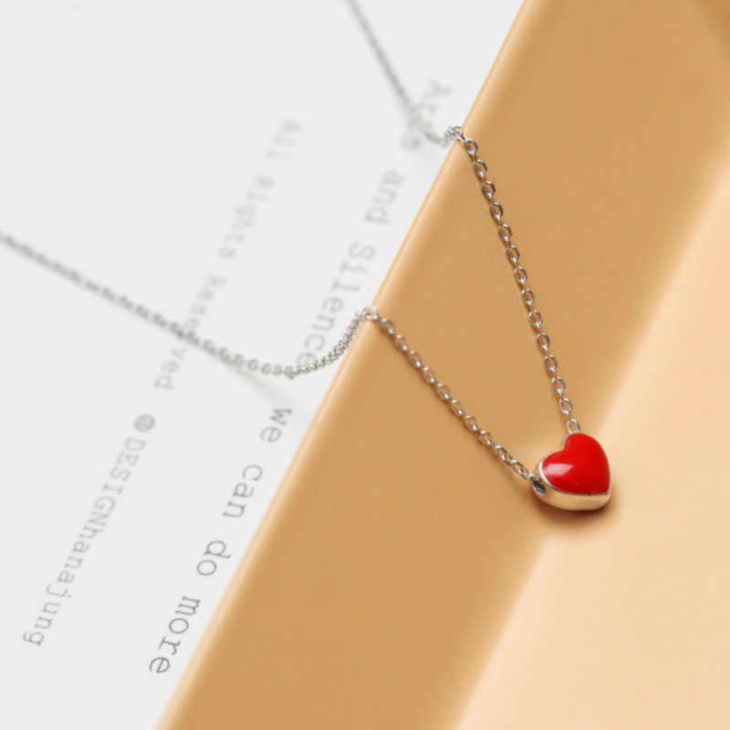 Venta al por mayor de plata colgante rojo en forma de corazón collares para mujeres 925 collar joyería de moda regalo de amante precio de fábrica